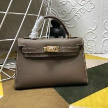 Replica Hermes Kelly Mini II In Original leather 20cm Golden Hardware Gray Bag RS26225