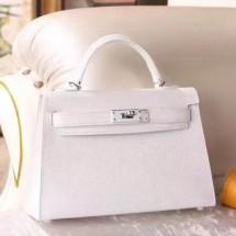Replica Hermes Kelly Mini II Bag In Original leather 20cm Silver Hardware White Bag RS26220