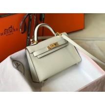 Replica Hermes Kelly Mini II Bag In Original leather 20cm Golden Hardware White Bag RS26213