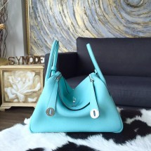 Replica Hermes Lindy 26cm/30cm Taurillon Clemence Calfskin Bag Handstitched Q Stamp, Blue Atoll 3P RS01129