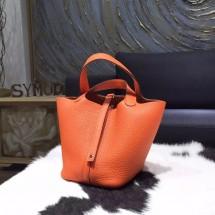 Replica Hermes Picotin Lock Bag 18cm/22cm Taurillon Clemence Palladium Hardware Hand Stitched, Orange RS01525