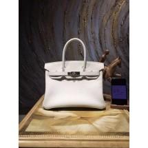 Replica High Quality Hermes Birkin 35cm Togo Calfskin Bag Handstitched Palladium Hardware, Blanc RS12473