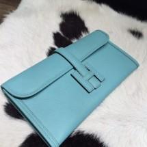 Replica High Quality Hermes Jige Elan Clutch 29cm Epsom Calfskin Handstitched, Blue Atoll 3P RS03978