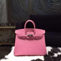 Top Copy Hermes Birkin 25cm Epsom Calfskin Bag Handstitched Palladium Hardware, Rose Confetti 1Q RS08848