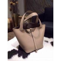 Top Hermes Picotin Lock Bag 22cm Taurillon Clemence Palladium Hardware Hand Stitched, Gris Tourterelle CK81 RS02758