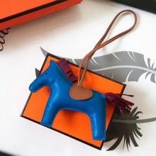 Designer Hermes Rodeo Horse Bag Charm In Blue/Camarel/Ruby Leather RS109215