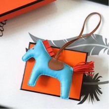 Designer Hermes Rodeo Horse Charm In Ciel/Camarel/Orange Leather Bag RS109217