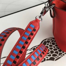High Quality Hermes Red Tressage Cuir 25 MM Bag Strap RS25722
