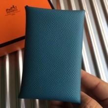 Luxury Hermes Blue Jean Epsom Calvi Card Holder Bag RS25712