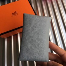High Quality Hermes Blue Lin Epsom Calvi Card Holder Bag RS25715