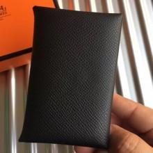 High Quality Hermes Black Epsom Calvi Card Holder Bag RS25711