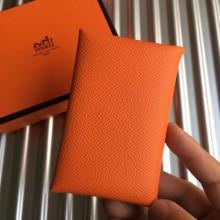 Luxury Hermes Orange Epsom Calvi Card Holder Bag RS25718