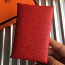 Designer Hermes Red Epsom Calvi Card Holder Bag RS25716