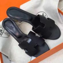 Cheap Hermes Black Epsom Oasis Sandals Women Shoes RS203219