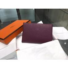 Best Hermes Calvi Card Holder Case Handstitched Taurillon Clemence Calfskin, Cassis N5 RS06344