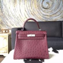 Copy Best Hermes Autruche Ostrich Kelly 28cm Souple Retourne Bag Handstitched Palladium Hardware, Bordeaux CK57 RS12478