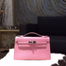 Copy Best Hermes Mini Kelly Pochette 22cm Lizard Skin Palladium Hardware Handstitched, Pink 5P RS16611