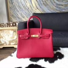 Copy Hermes Birkin 30cm Swift Calfskin Bag Handstitched Gold Hardware, Ruby B5 RS18654