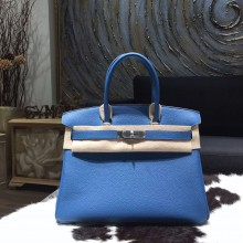 Copy Hermes Birkin 30cm Taurillon Clemence Bag Handstitched Palladium Hardware, Mykonos 7Q RS05283