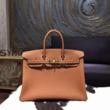 Copy Hermes Birkin 35cm Taurillon Clemence Calfskin Bag Hand Stitched Gold Hardware, Gold RS02518