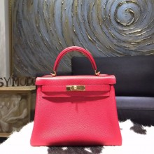 Copy Hermes Horseshoe Kelly 28cm Togo Calfskin Original Leather Bag Handstitched Gold Hardware, Rose Jaipur T5, Rouge Pivoine 2R RS20303