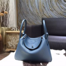 Fake Hermes Bi-Color Lindy 26cm/30cm Taurillon Clemence Calfskin Bag Hand Stitched, Colvert 1P, Blue Turquoise 7B RS06328