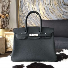 Fake Hermes Birkin 30cm Togo Calfskin Bag Handstitched Palladium/Gold Hardware, Plomb CK76 RS16665