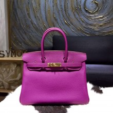 Fake Hermes Birkin 30cm Togo Calfskin Original Leather Bag Handstitched Gold Hardware, Anemone P9 RS14863