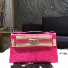 Fake Hermes Mini Kelly Pochette 22cm Lizard Skin Palladium Hardware Handstitched, Fushia Pink 5J RS11079