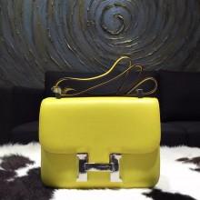 Fashion Hermes Constance 23cm Epsom Calfskin Original Leather Handstitched, Soufre C9 RS13007