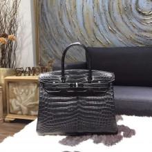 Hermes 30cm Matte Alligator Crocodile Birkin So Black Hardware Handstitched, So Black RS15467