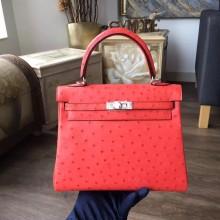 Hermes Autruche Ostrich Kelly 28cm Souple Retourne Bag Handstitched Palladium Hardware, Bougainvillier A5 RS01879