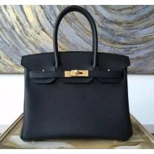 Hermes Birkin 25cm Togo Calfskin Bag Handstitched Gold Hardware, Black Noir RS02789