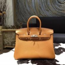 Hermes Birkin 25cm Togo Calfskin Bag Handstitched Silver Hardware, Gold CK37 RS16619