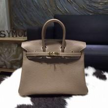 Hermes Birkin 25cm Veau Crispe Togo Calfskin Bag Hand Stitched Gold Hardware, Etoupe CK18 RS16338
