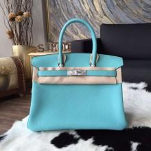 Hermes Birkin 30cm/35cm Togo Calfskin Bag Handstitched Palladium Hardware Q Stamp, Blue Atoll 3P RS00355