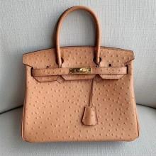 Hermes Birkin 30cm Autruche Ostrich Bag Handstitched Gold Hardware, Parchemin 3C RS16772