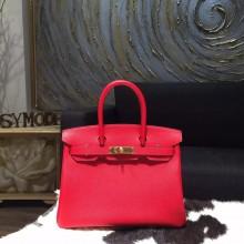 Hermes Birkin 30cm Epsom Calfskin Bag Handstitched Gold Hardware, Rouge Casaque Q5 RS10895