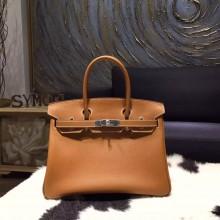 Hermes Birkin 30cm Epsom Calfskin Bag Original Leather Hand Stitched Palladium Hardware, Gold CK37 RS02678