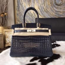 Hermes Birkin 30cm Shiny Crocodile Skin Bag Handstitched Palladium Hardware, Blue Indigo CK76 RS14940