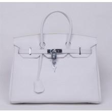 Hermes Birkin 30cm Swift Calfskin Bag Handstitched Palladium Hardware, Craie CC10 RS05567