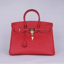 Hermes Birkin 30cm Tedelakt Calfskin Leather Bag Handstitched Gold Hardware, Ruby B5 RS05792