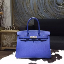Hermes Birkin 30cm Togo Calfskin Bag Handstitched, Blue Electric 7T RS05927