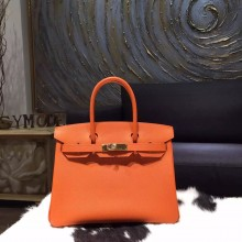Hermes Birkin 30cm Togo Calfskin Bag Handstitched Gold Hardware, Orange CK93 RS02240