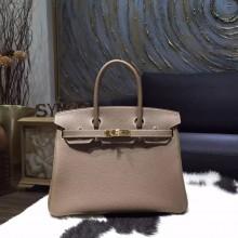 Hermes Birkin 30cm Togo Calfskin Bag Original Leather Hand Stitched, Etoupe CK18 RS19581