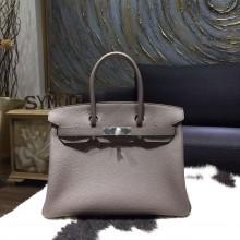 Hermes Birkin 30cm Togo Calfskin Bag Original Leather Hand Stitched Palladium Hardware, Etain 8F RS03863