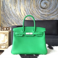 Hermes Birkin 30cm Togo Calfskin Original Leather Bag Handstitched Palladium Hardware, Bambou 1K RS11393