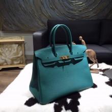 Hermes Birkin 35cm Togo Calfskin Leather Bag Gold Hardware Handstitched, Malachite Z6 RS01872