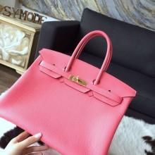 Hermes Birkin 35cm Togo Calfskin Original Leather Bag Handstitched Gold Hardware, Rose Lipstick U5 RS12687