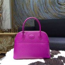 Hermes Bolide 27cm Epsom Calfskin Leather Bag Palladium Hardware Handstitched, Anemone P9 RS02293